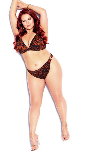 Plus Size Vibeka Print Bikini Pant - leopard