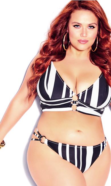 Plus Size Amara Print Bikini Pant - black