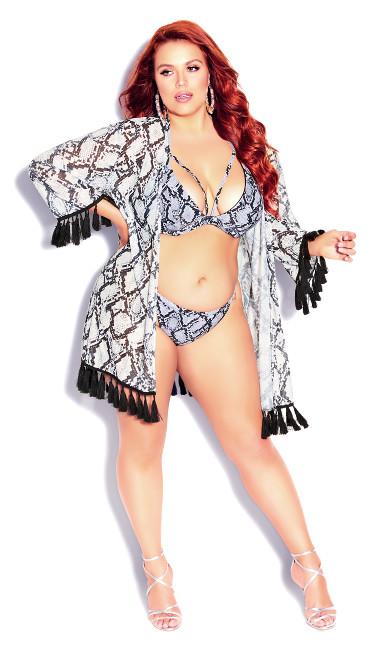 Plus Size Greta Print Bikini Top - black snake