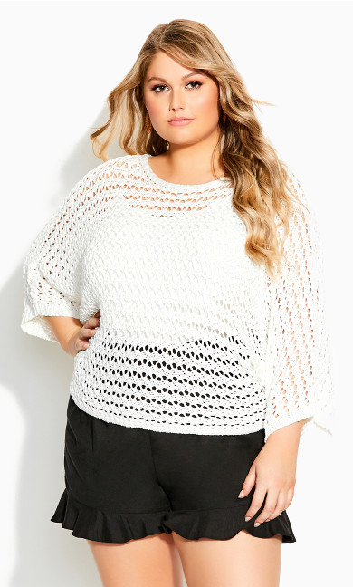 Plus Size Cool Crochet Top - ivory
