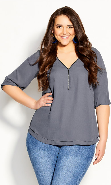 Plus Size Sexy Fling Elbow Sleeve Top - smoke