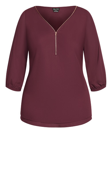 Sexy Fling Elbow Sleeve Top - plum