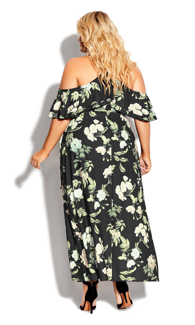 Tender Floral Maxi Dress - black