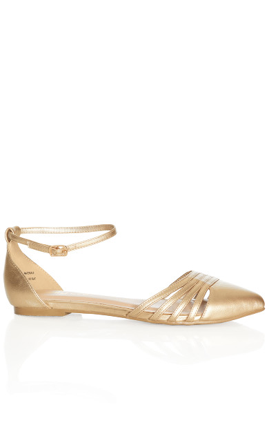 Plus Size Cora Metallic Flat - gold