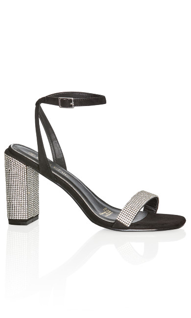 Plus Size Vienna Diamonte Heel - black