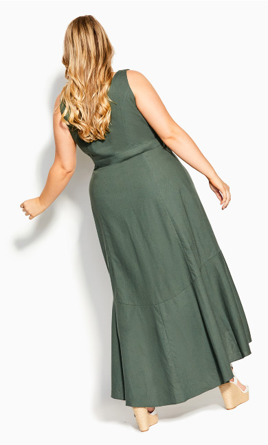 Sweetie Button Maxi Dress - khaki