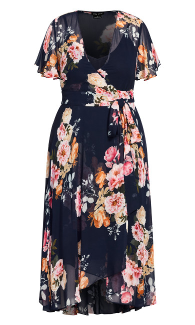 Florence Frill Dress - navy