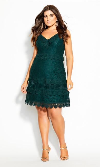 Plus Size Nouveau Lace Dress - emerald