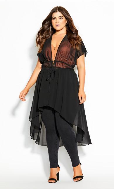 Plus Size Hi Lo Jacket - black