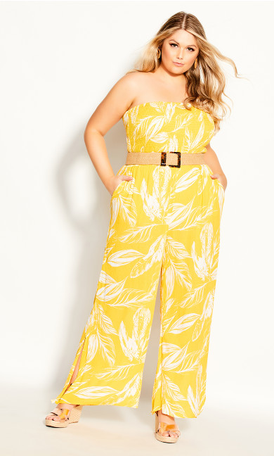 Plus Size Sunshine Tropical Jumpsuit - sunshine