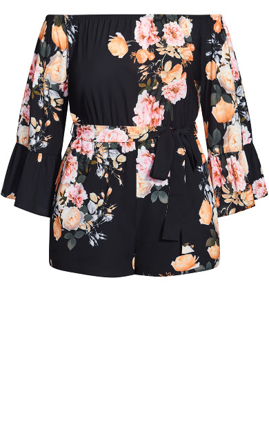 Tuscan Rose Playsuit - black