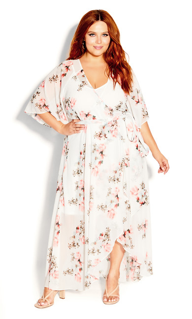 Plus Size Wrap Lotus Maxi Dress - ivory