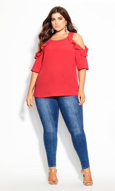 Plus Size Wild Sleeve Top - raspberry