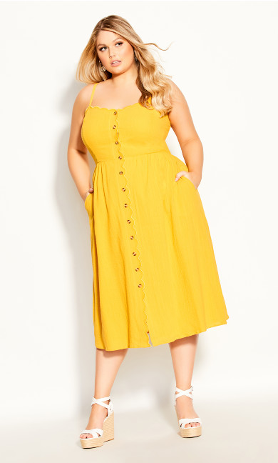 Plus Size Scallop Button Dress - sunshine