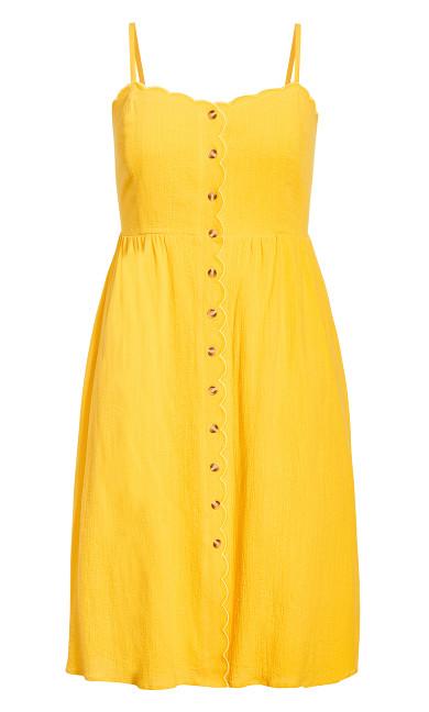Scallop Button Dress - sunshine