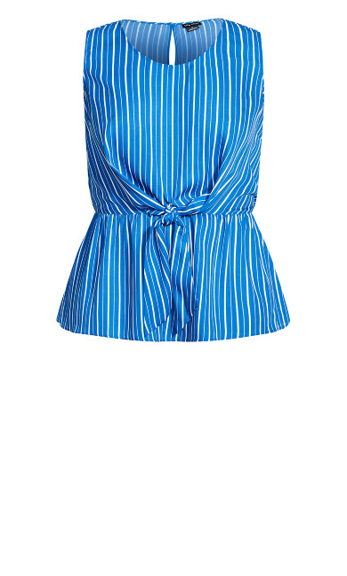 Cinch Tie Waist Top - blue