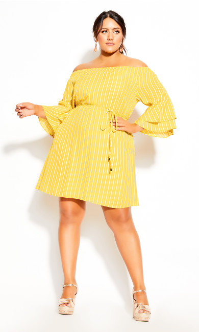 Sunshine Stripe Dress - golden yellow