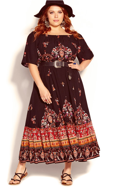 Plus Size Boho Angel Maxi Dress - black