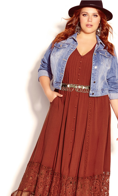 Plus Size City of Angels Maxi Dress - bronze