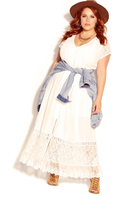 Plus Size City of Angels Maxi Dress - ivory