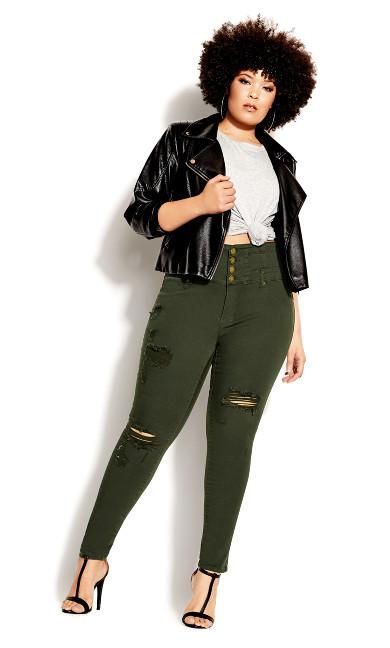 Plus Size Asha Rip Corset Jean - khaki