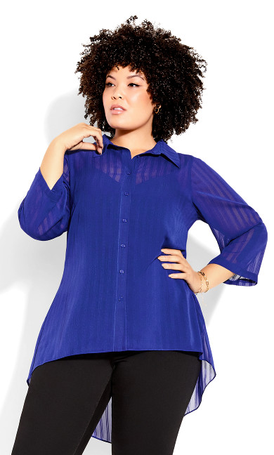 Elegant Stripe Shirt - sapphire