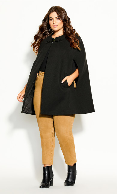 Plus Size Elegant Cape Jacket - black