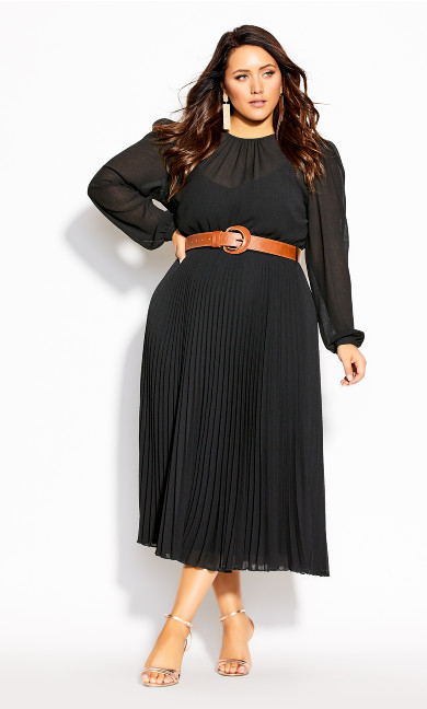 Plus Size Love Pleat Dress - black