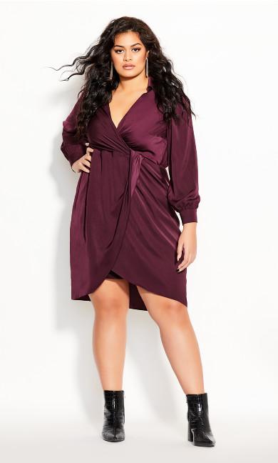 Plus Size Collared Love Dress - plum