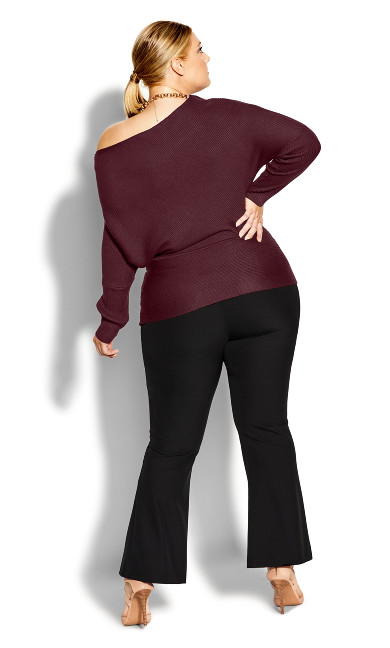 Fitted Rib Jumper - bordeaux