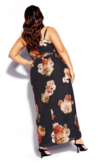Autumn Rose Maxi Dress - black floral