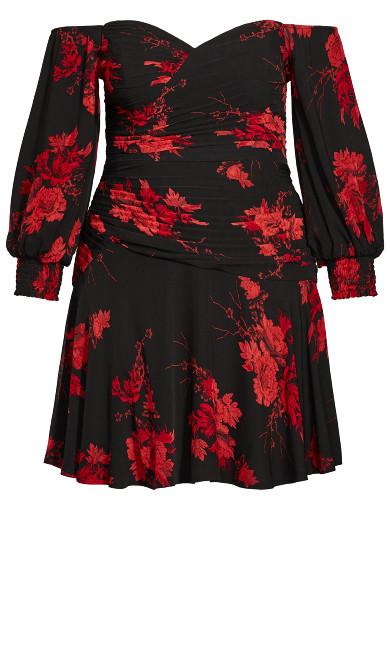Crimson Garden Dress - black