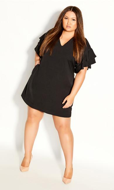 Plus Size Double Frill Dress - black