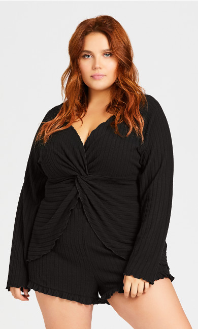 Plus Size Ella Sleep Top - black