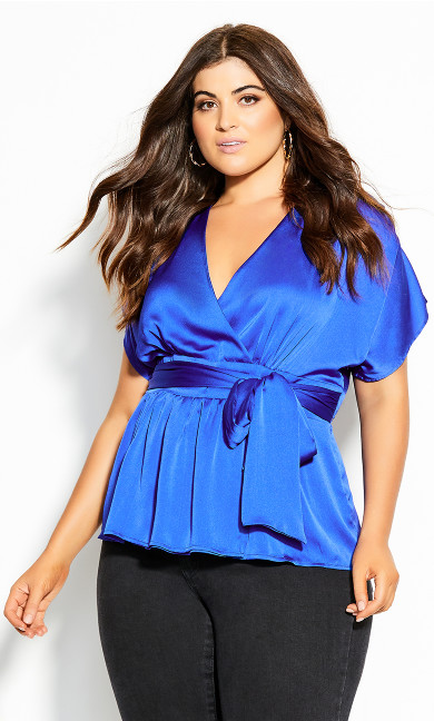 Plus Size Tangled Top - electric blue