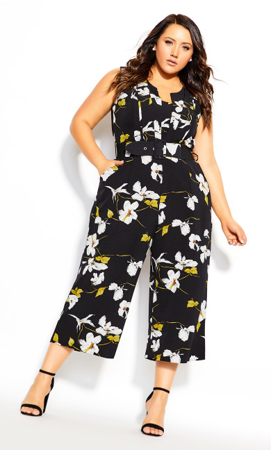 Plus Size Crepe Floral Jumpsuit - black