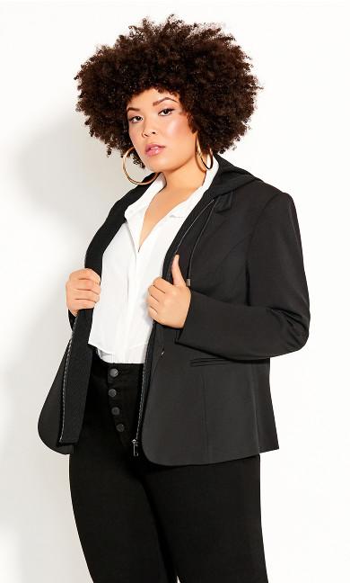 Plus Size Versatile Hoodie Jacket - black