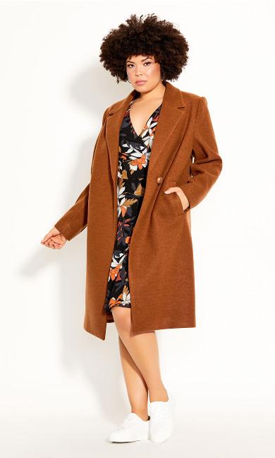 Plus Size Effortless Chic Coat - ginger