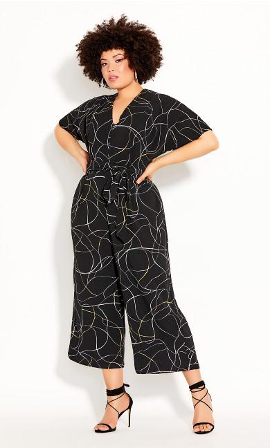 Plus Size Free Hand Jumpsuit - black