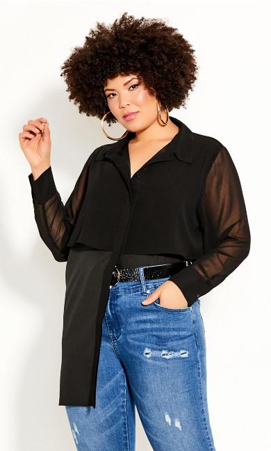 Plus Size Fly Away Shirt - black