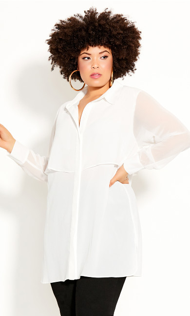 Plus Size Fly Away Shirt - ivory