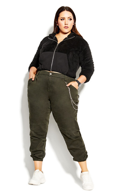 Plus Size Crop Teddy Jacket - black