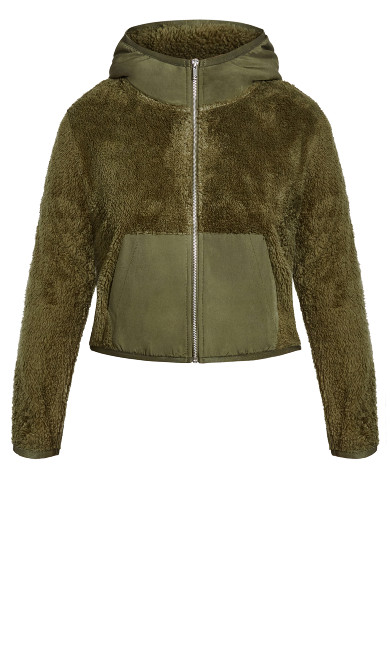 Crop Teddy Jacket - sage