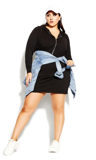 Plus Size Double Time Dress - black