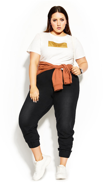 Plus Size Gold NYC Tee - ivory
