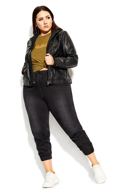 Plus Size Layered Hoodie Jacket - black