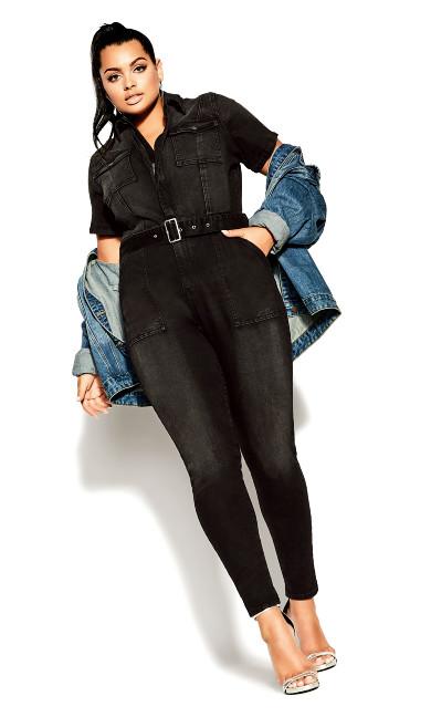 Plus Size Denim Sleeve Jumpsuit - black