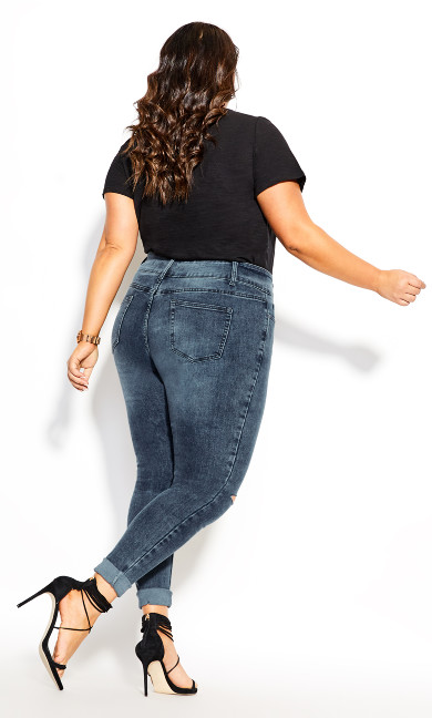 Asha Slash Skinny Jean - grey