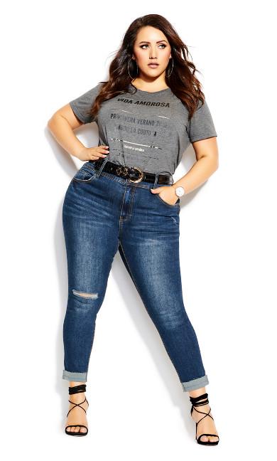 Plus Size Harley Turn Up Jean - indigo