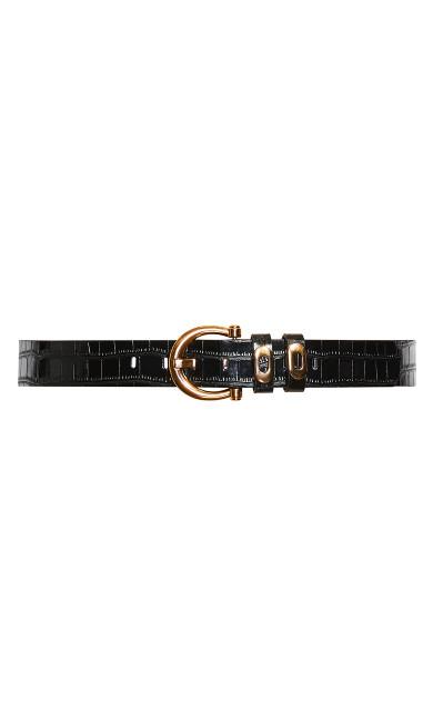 Golden Eyelet Belt - black